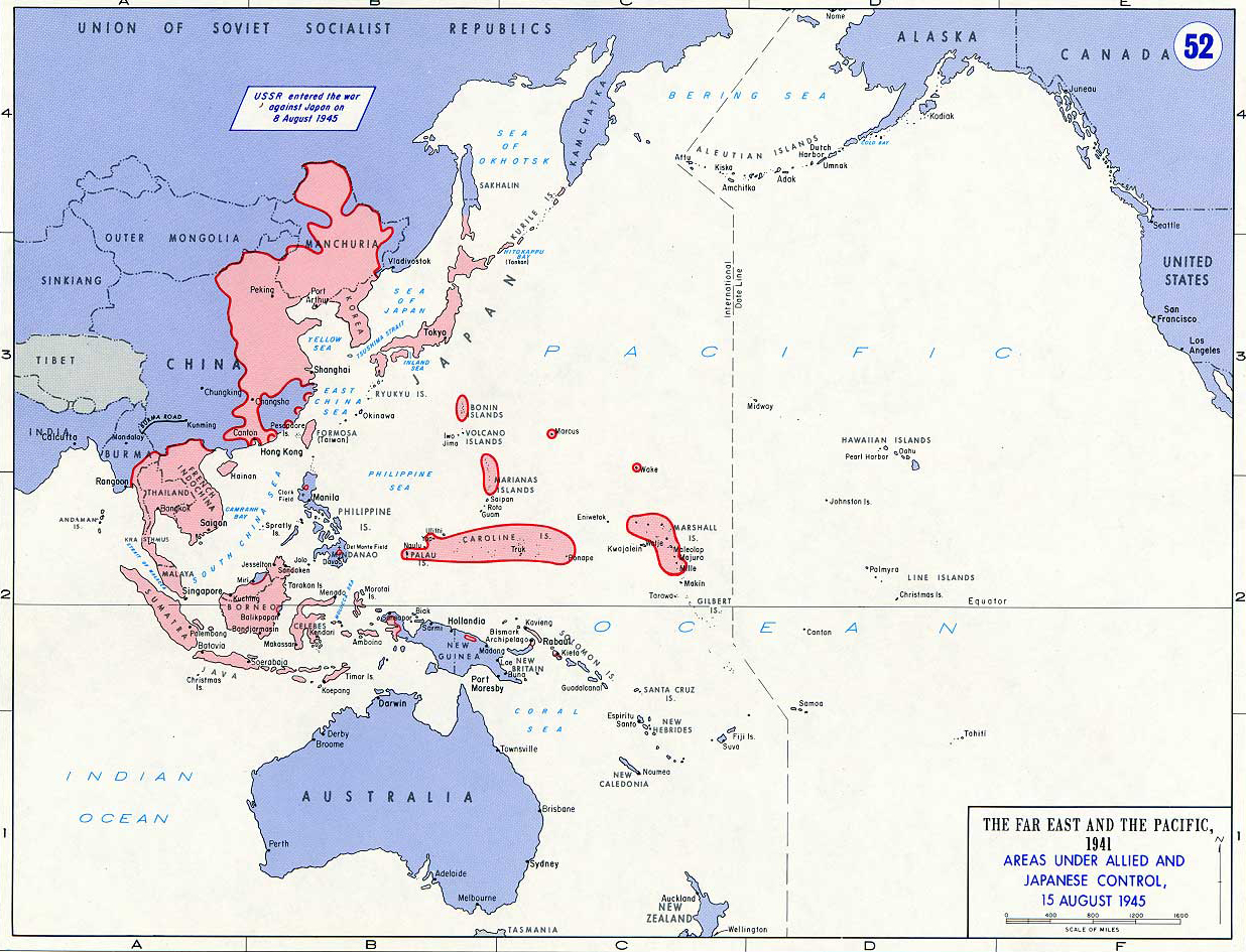 Map Of Wwii Asia And The Pacific On August 15
