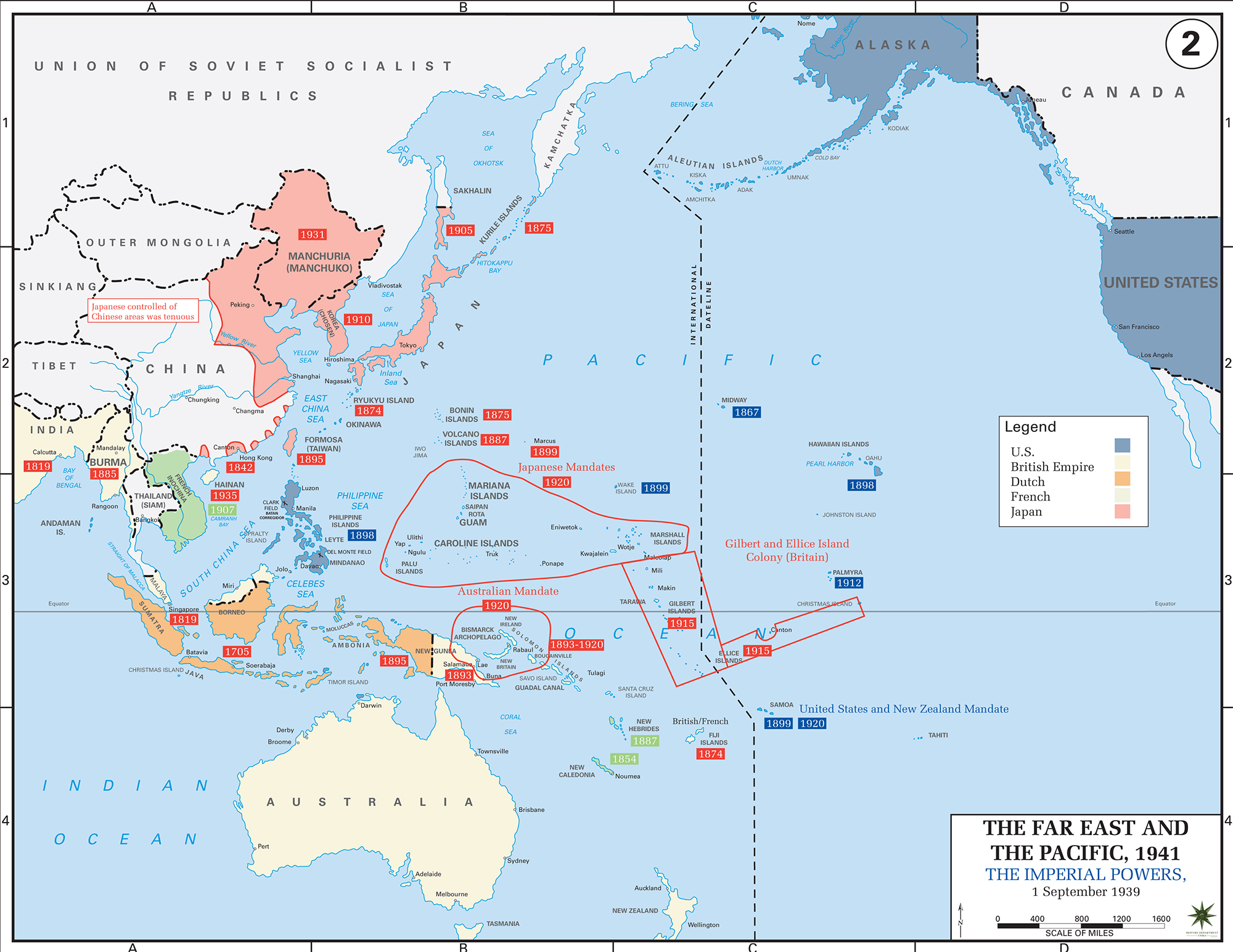 Map Of Wwii In The Pacific The Imperial Powers