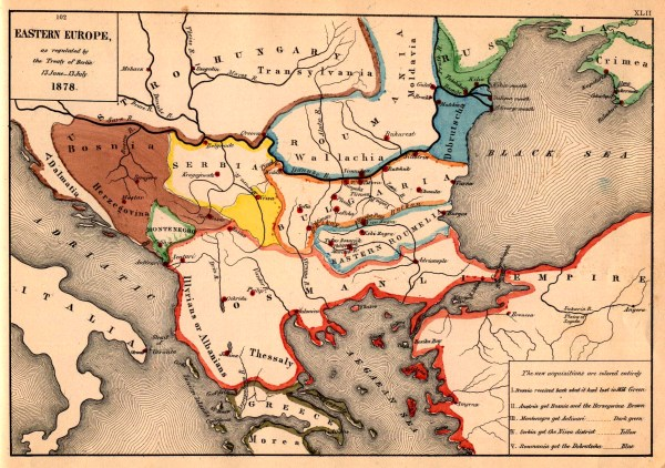 Map of the Balkans 1878