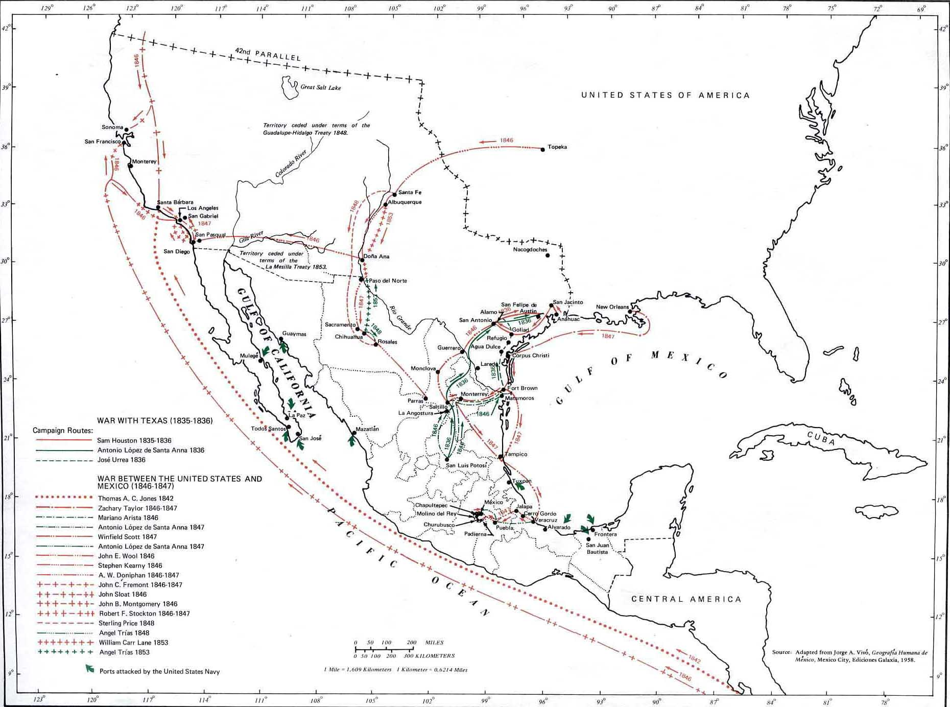 Map Of Mexican American Campaigns