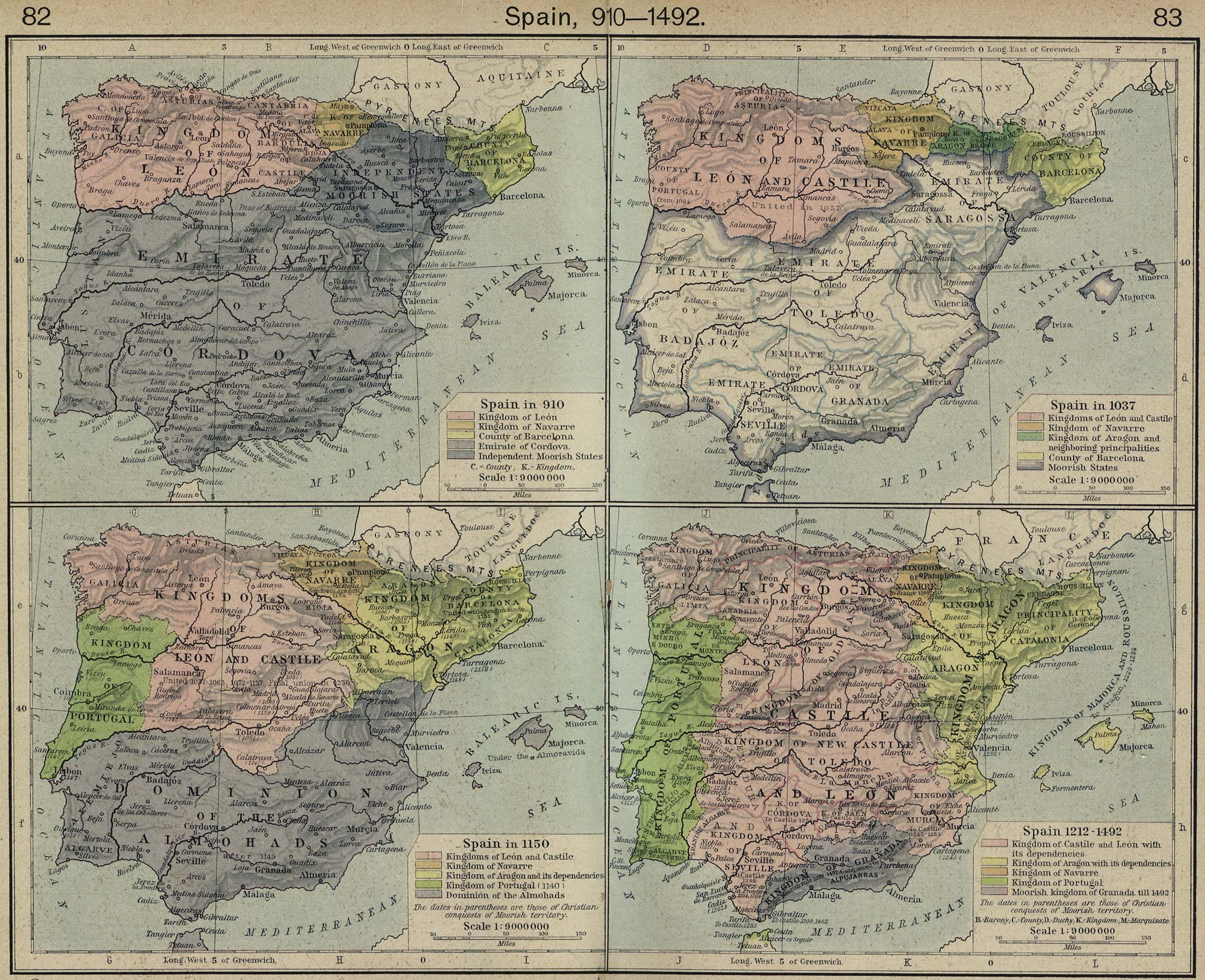 Map Of Spain 910 1492
