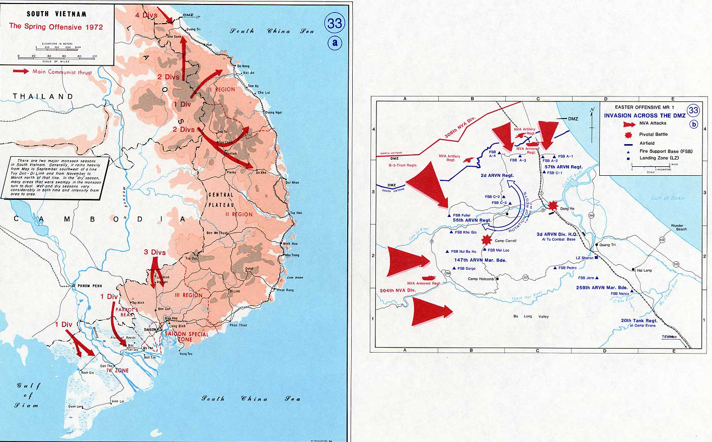History Map of the Vietnam War. South Vietnam, Spring Offensive 1972, Invasion Across the DMZ.