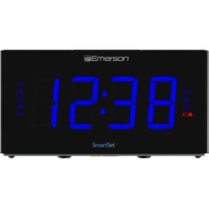 Smartset Sound Therapy Alarm Clock Radio With White Noise Nature Sounds 1 8 Led Display Black Blue Emerson Radio