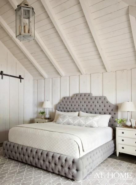 white walls grey ceiling bedroom Marvelous Mondays: Bedrooms with wood plank walls - Em for