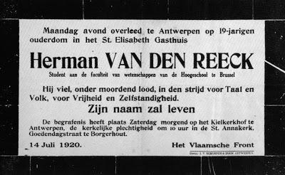 Herman Van den Reeck, 100 jaar geleden vermoord