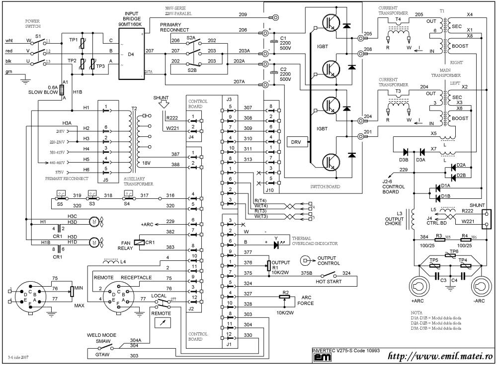 medium resolution of wiring diagram welding inverter lincoln invertec v275 s code 10993