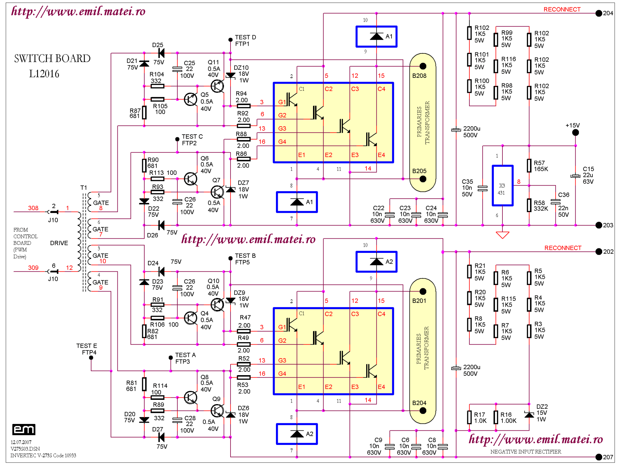hight resolution of  igbt switch board schematic diagram of welding inverter lincoln invertec v275 s code 10993
