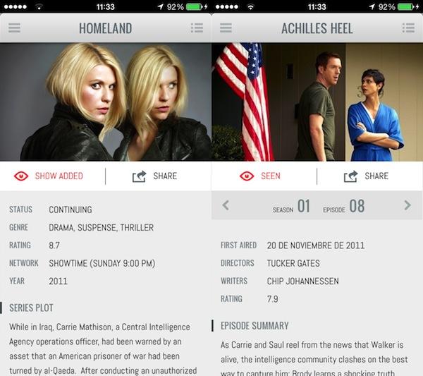 iShows - Información de serie y de capítulo