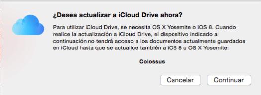 Aviso de la migración a iCloud Drive