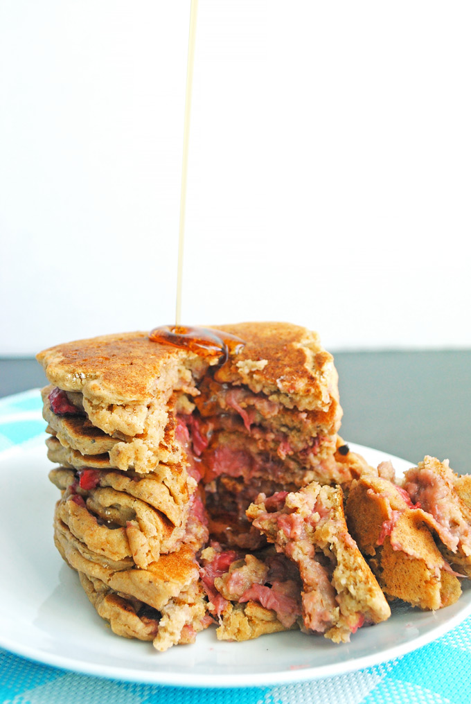 Put a spin on the classic PB&J with these gooey peanut butter and jelly stuffed pancakes! No one will guess they're vegan, whole-wheat, and healthy.