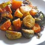 Maple Curry Roasted Brussels Sprouts, Butternut Squash and Apples