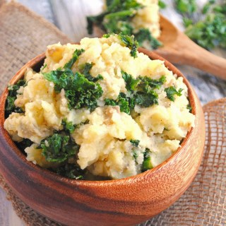 Vegan Mashed Potatoes with Garlicky Kale
