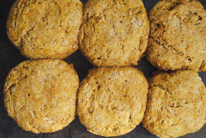 These whole wheat & vegan biscuits are full of delicious pumpkin flavor and warm pumpkin spice! Make them for breakfast or as a side dish for the holidays.