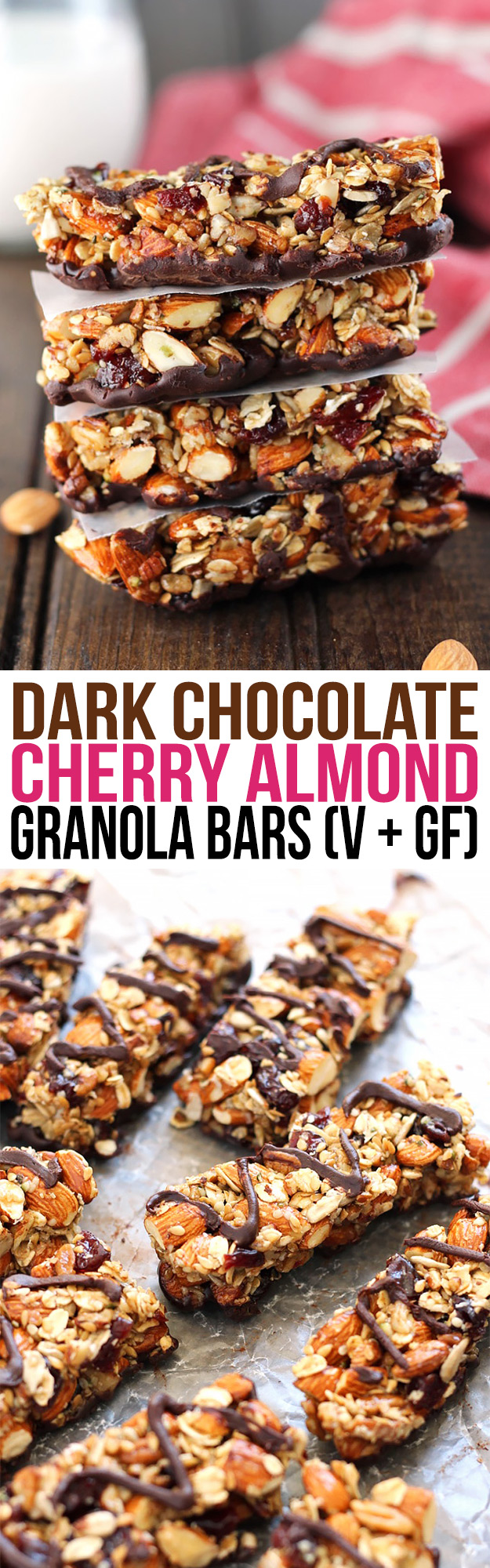 These Dark Chocolate Cherry Almond Granola Bars make great healthy snack and are easily customizable. Plus, they're way cheaper than store-bought bars!