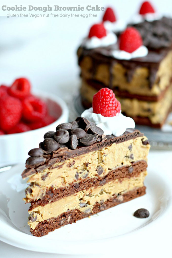 Cookie Dough Brownie Cake by Petite Allergy Treats