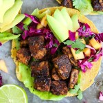 Smoky Tempeh Tostadas with Mango Cabbage Slaw