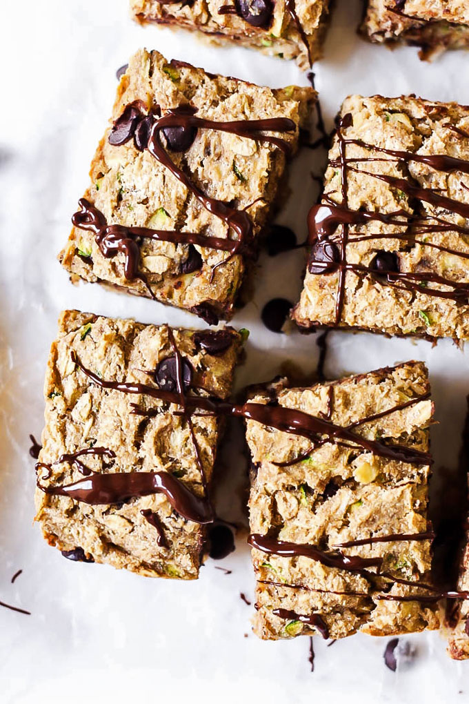 These Chocolate Chip Zucchini Banana Breakfast Bars are a healthy way to curb your sweet tooth AND get some greens in. They're fluffy, vegan & gluten-free!