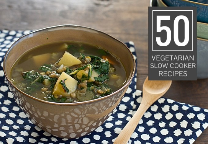 Check out these 50 delicious & easy vegetarian slow cooker recipes! (many can be made vegan)