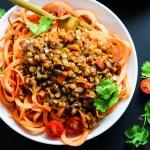 Sweet Potato Spaghetti with Chunky Lentil Sauce