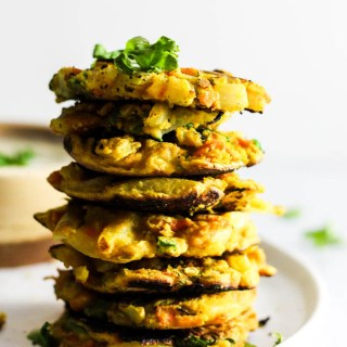 Crispy Onion & Carrot Fritters with Cumin Yogurt (vegan & gluten-free)