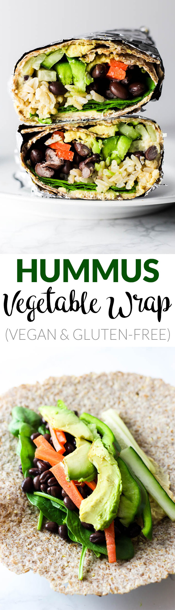 This Hummus Vegetable Wrap is a great on-the-go lunch option! Stuff it with all of your favorite vegetables, beans & creamy hummus. Vegan & gluten-free!