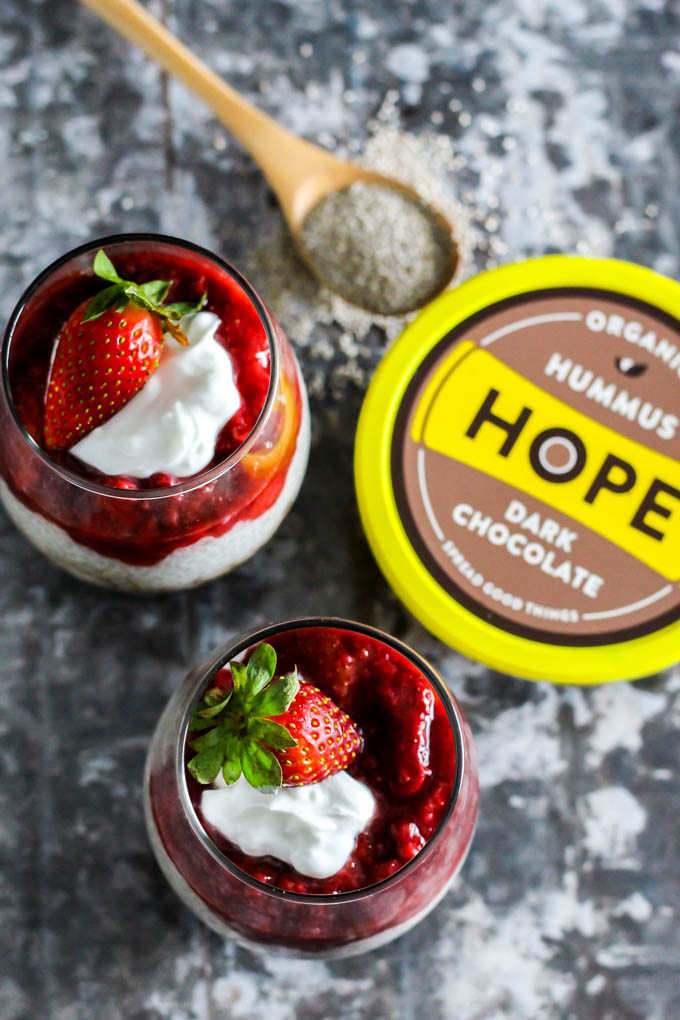 Dessert for two! These Strawberry Chocolate Chia Seed Pudding Parfaits are the easiest vegan & gluten-free dessert to whip up for you & someone special.