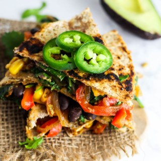 Vegan Quesadilla with Hummus & Vegetables