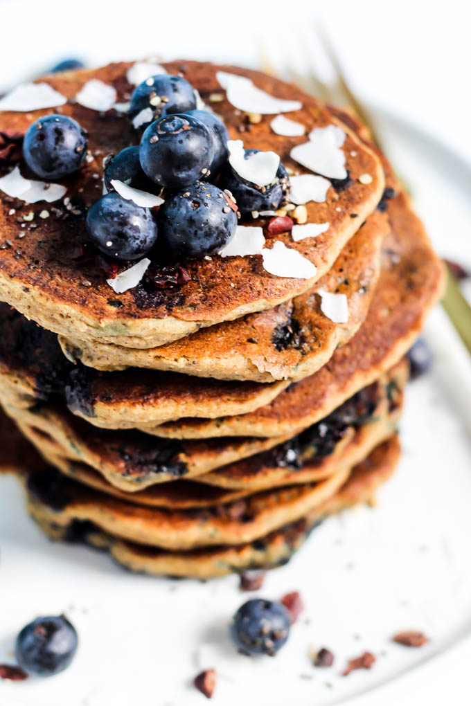 These Blueberry Vegan Protein Pancakes aren't just for the weekend! They're made in the blender, which means less time from start to breakfast. Gluten-free!