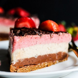 Why have just one ice cream flavor when you can have all three? This Neapolitan Banana Ice Cream cake is a creamy, decadent dessert for any occasion! Vegan & gluten-free.