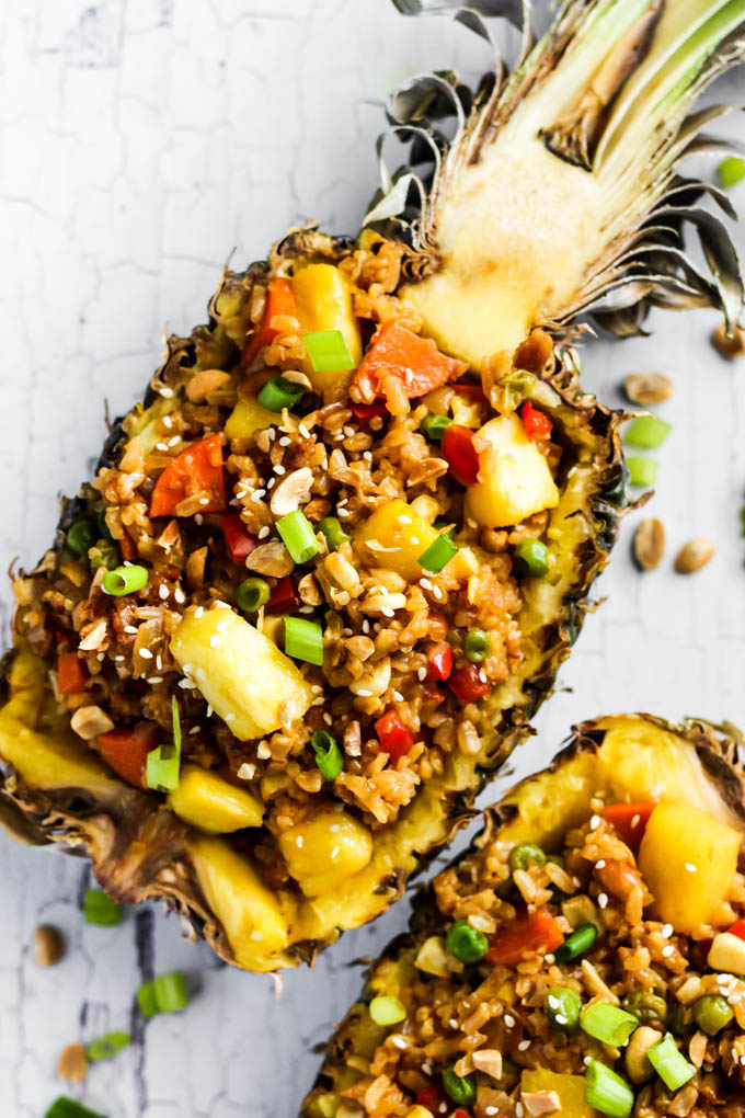 This Easy Pineapple Fried Rice is a fruity, wholesome version of your favorite take-out dish! It's a great weeknight meal that's vegan & gluten-free.