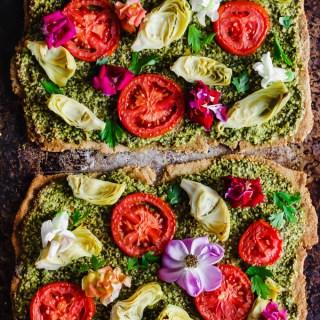 Floral Tomato & Artichoke Pesto Flatbread