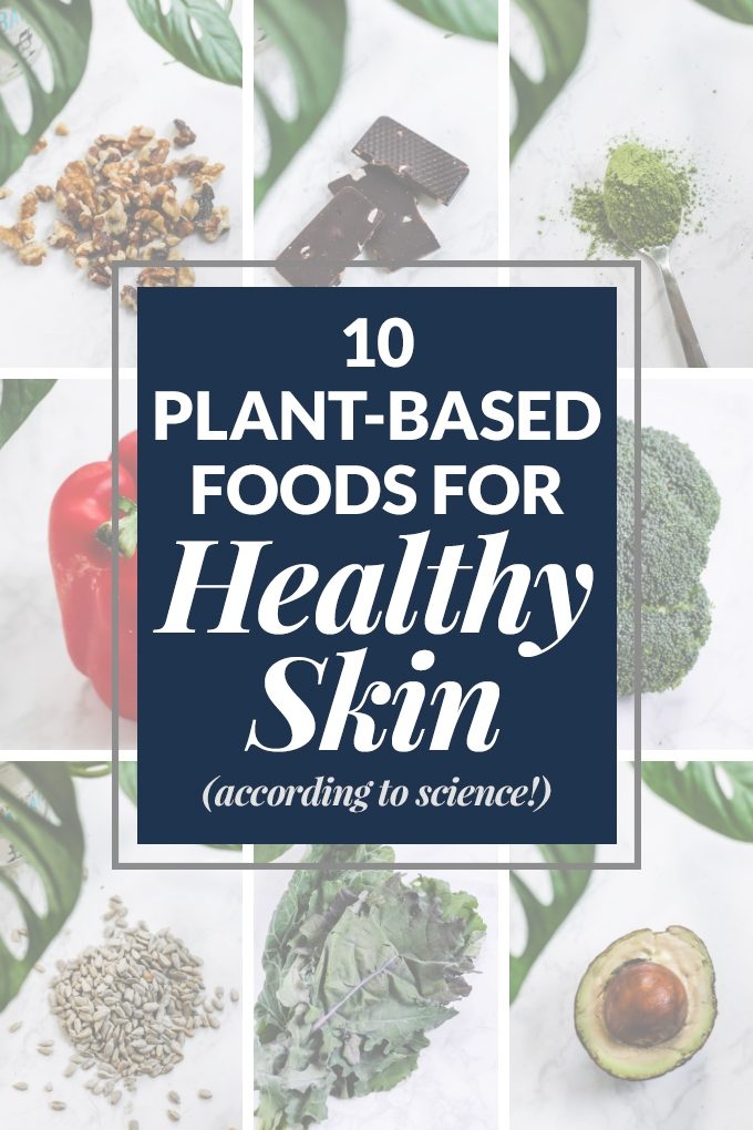 Start incorporating these 10 plant-based foods for healthy skin into your diet for glowing skin and damage-fighting power! Learn about the science behind why the nutrients in these plant foods are so beneficial for our skin.