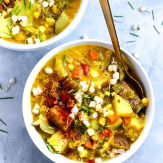 Green Chile Vegan Corn Chowder (vegan & gluten-free)