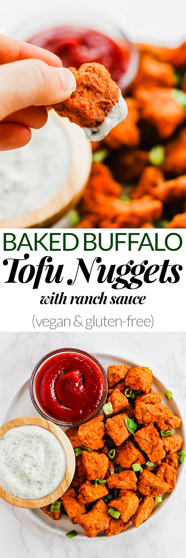 These Baked Buffalo Tofu Nuggets are a fun snack or side dish for kids and adults alike! Serve them witha dairy-free ranch sauce for the ultimate appetizer. (vegan & gluten-free)