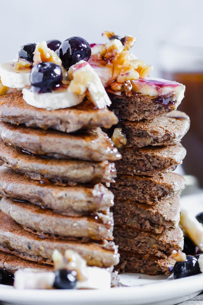 Whip up a batch of these Fluffy Vegan Buckwheat Pancakes for a sweet, protein-packed breakfast! They're whole grain, gluten-free and great for prepping ahead of time.