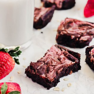 Strawberry Cheesecake Swirl Vegan Brownies