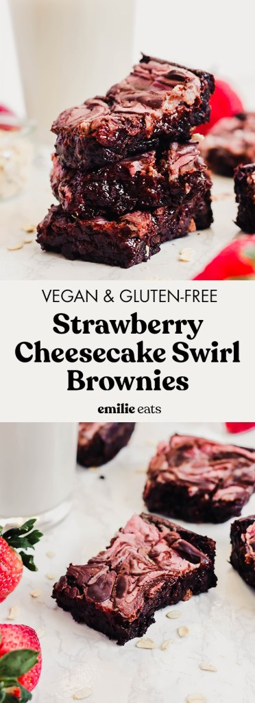 Treat yourself and your loved ones to these fudgy Strawberry Cheesecake Swirl Vegan Brownies! Each bite is full of rich chocolate and sweet strawberry flavor. (gluten-free)