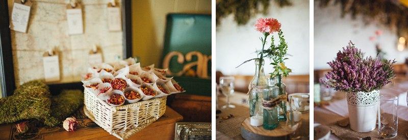Flower details at the farm wedding