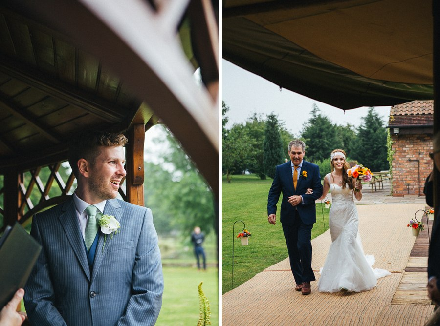 Boho bride walking down the aisle