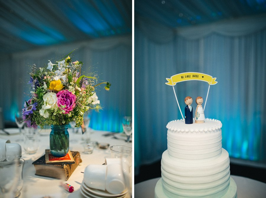 Colourful wedding flowers - Wooden cake toppers