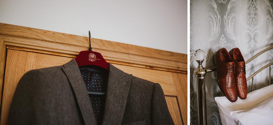 Groom's brown tweed suit