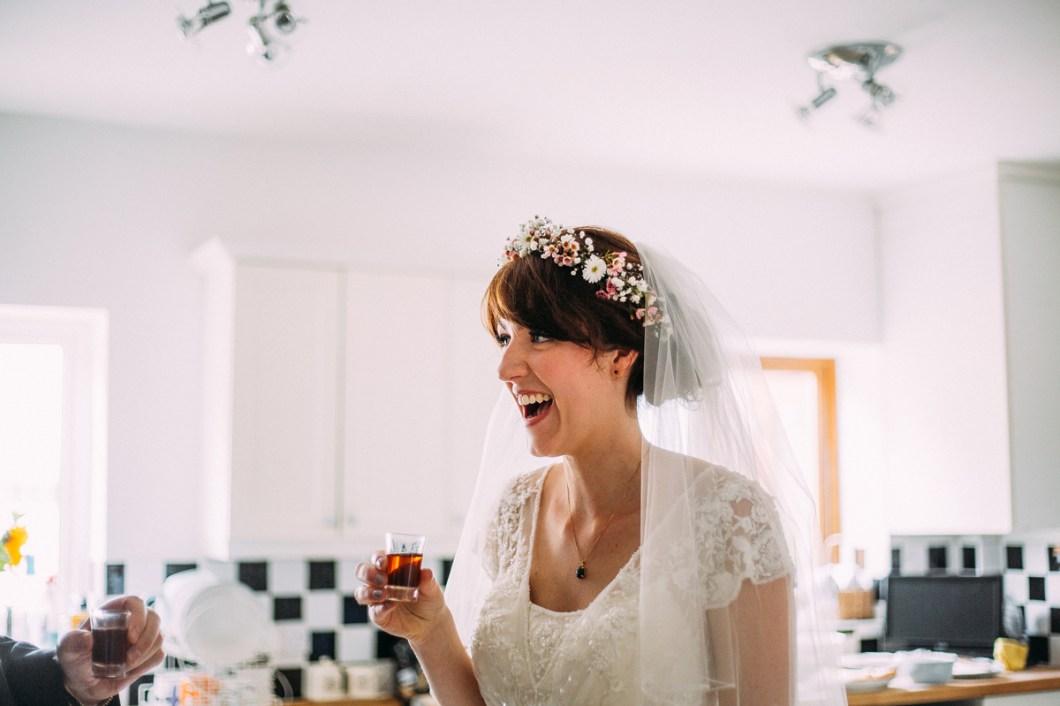 Boho bride wearing a flower crown