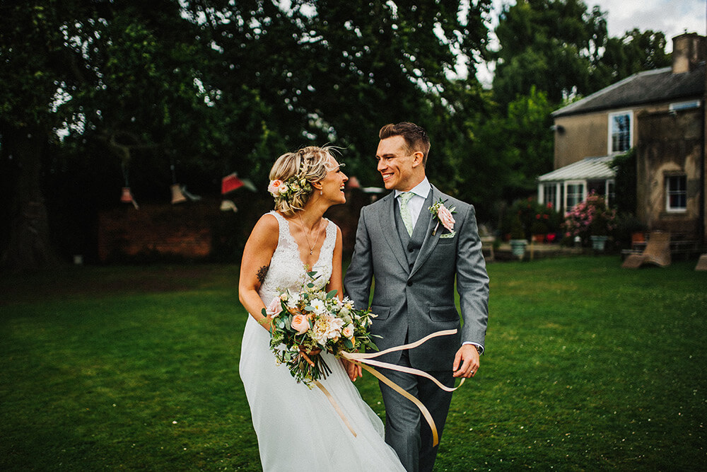 Happy couple at their East Bridgford Hill wedding