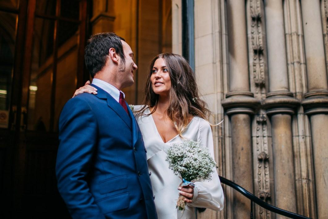 Boho bride and mod groom
