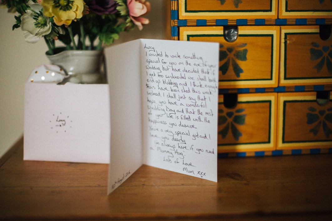 Wedding card from the bride's mother