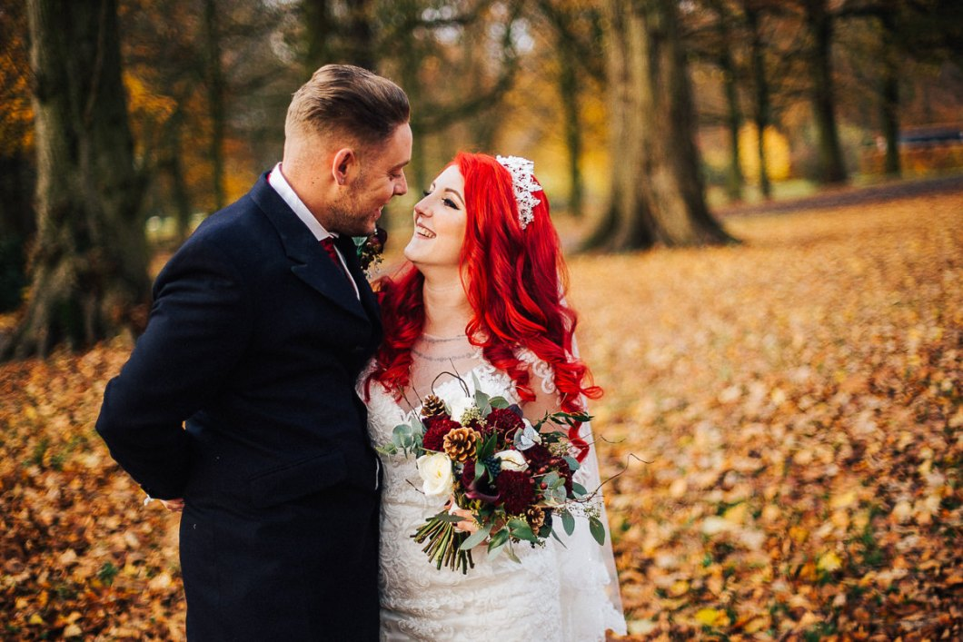 Autumnal bride and groom portraits