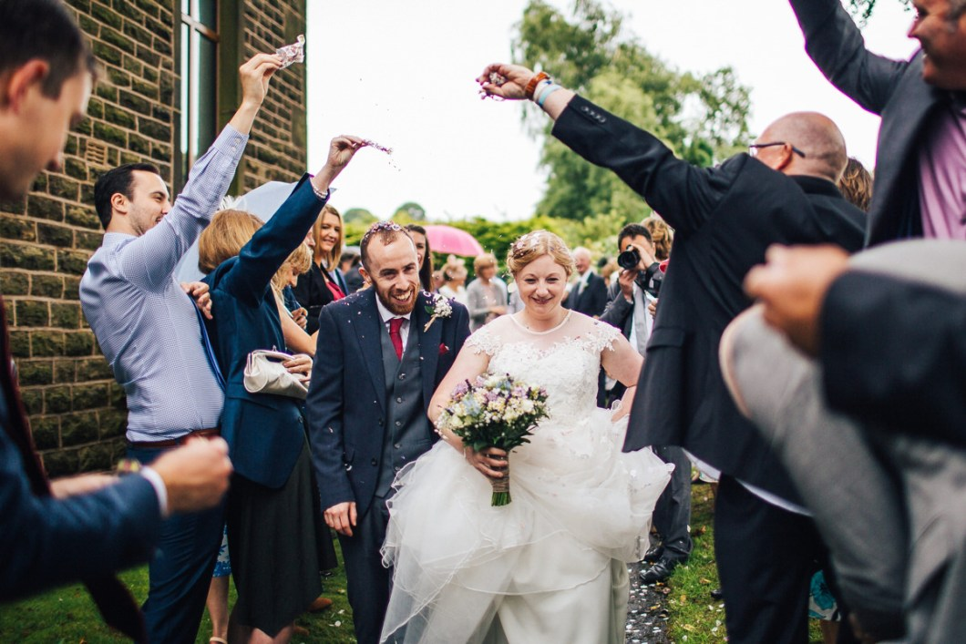 Confetti throw Lancashire farm wedding