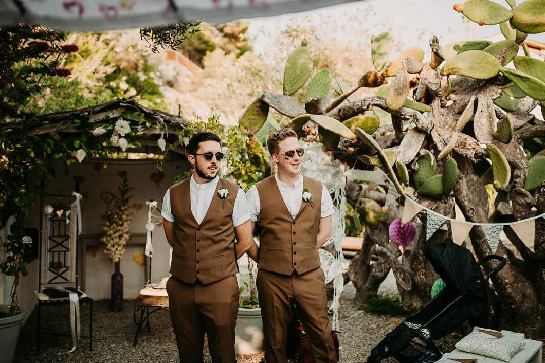 Groom's brown destination wedding suit