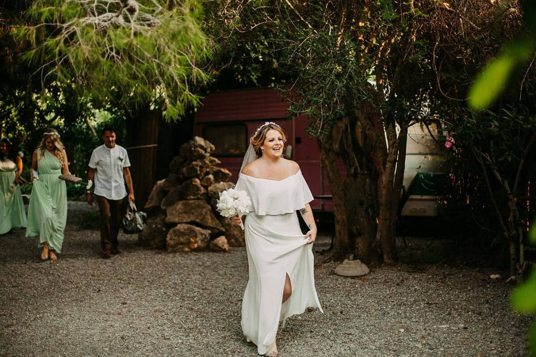Bride arriving at Hidden Bar Ibiza