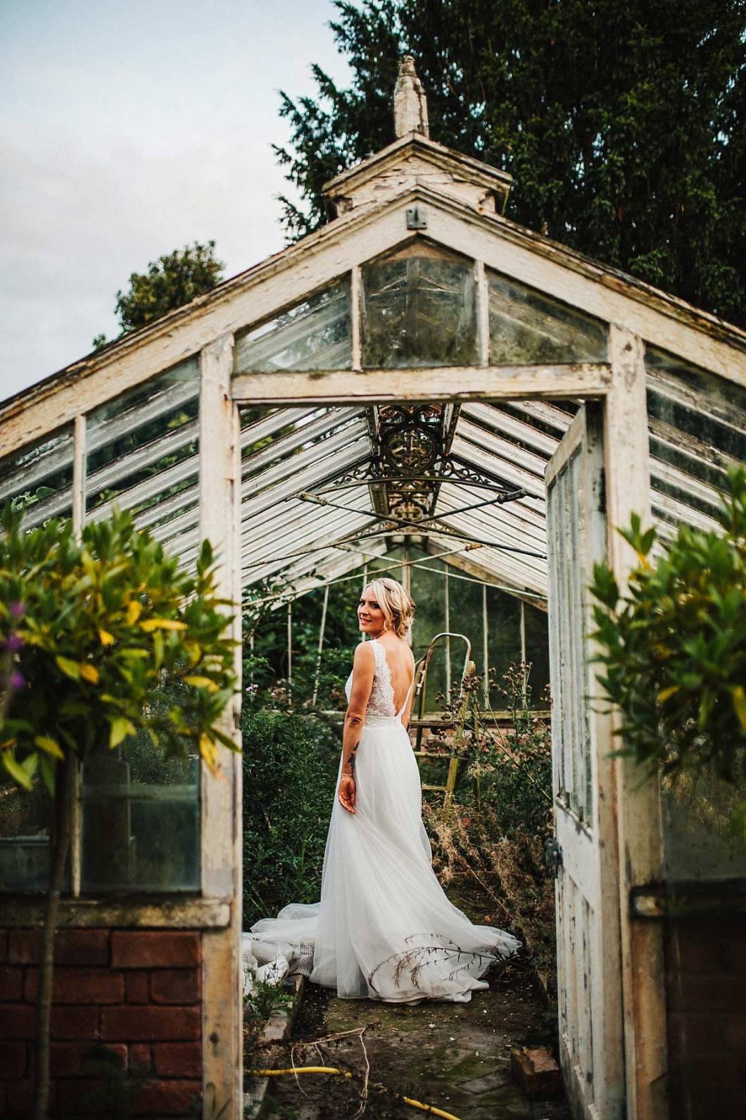 Boho bride wearing a Mirror Mirror dress